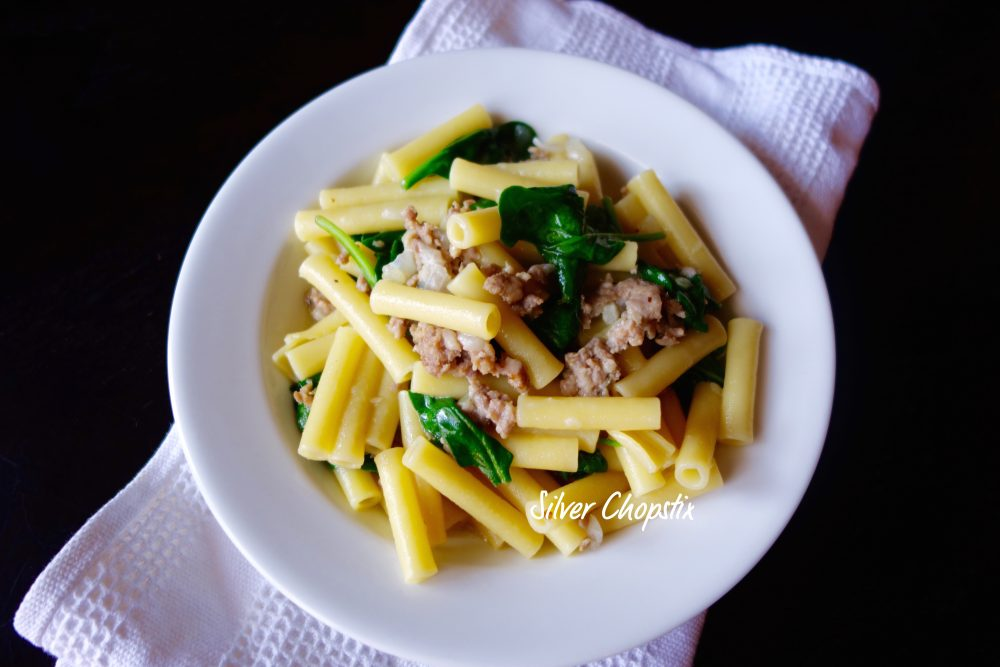 Pasta with Italian Sausage and Spinach