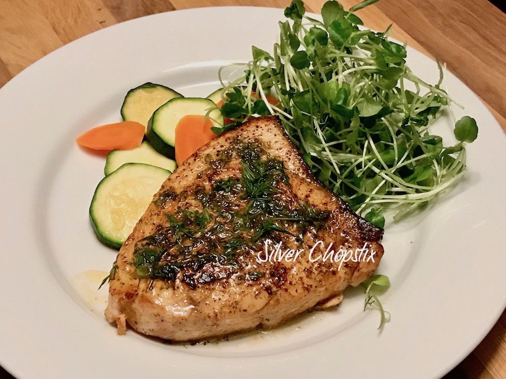Pan Seared Swordfish with Herbed Butter Sauce