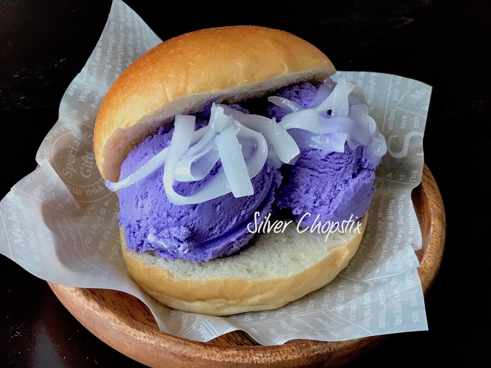 Filipino Ice Cream Sandwich (Ube Ice Cream on Bread)
