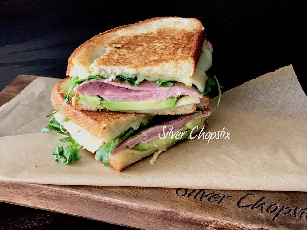 Grilled Ham and Cheese with Avocado and Arugula