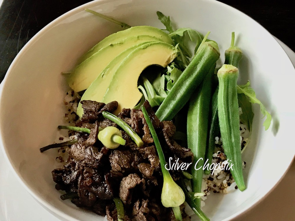 Green Rice Bowl with Beef Tapa