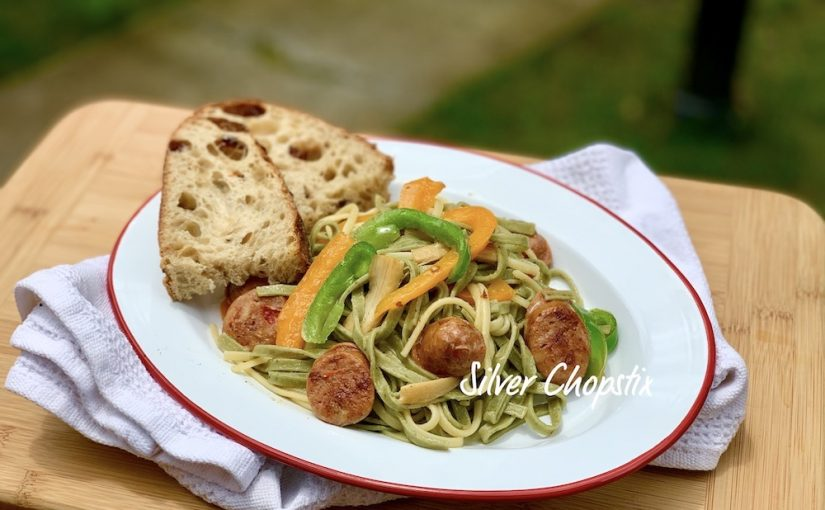 Spinach Chive Linguine with Chicken Sausage